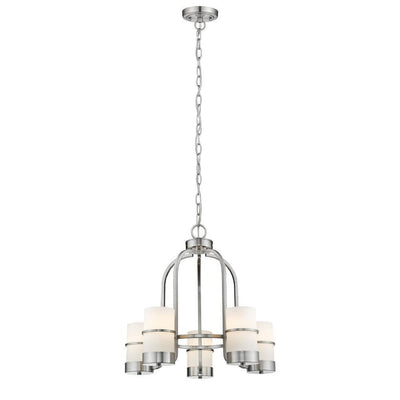 "Penelope Contemporary 5 Light Brushed Nickel Mini Chandelier 22"" Wide - CH2R001BN22-UC5"
