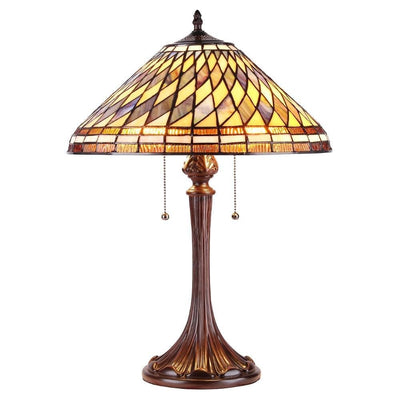 "Percy Tiffany-Style 2 Light Mission Table Lamp 16"" Shade"