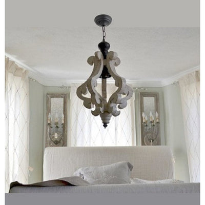 Perth Wooden Chandelier With Metal Chain And One Bulb Holder, White By Casagear Home