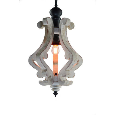 Perth Wooden Chandelier With Metal Chain And One Bulb Holder White ABH-35539