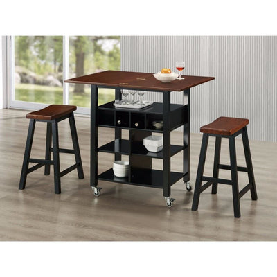 Phoenix Kitchen Island with 2 Stools -4D Concepts