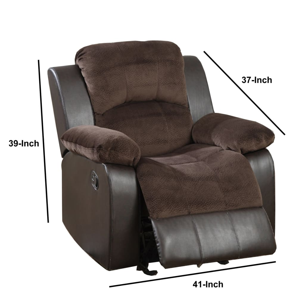 Polyurethane Rocker Recliner In Choco Suede Brown
