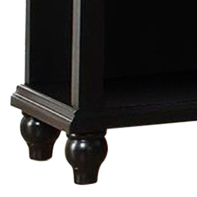 Poplar Wood Night Stand With Drawer Black PDX-F4359