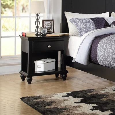Poplar Wood Night Stand With Drawer, Black