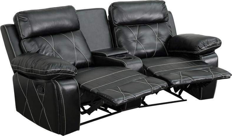 Decor Comfort Series Seat Reclining Black Theater Seating Unit W Curved Cup Holders Real Photo