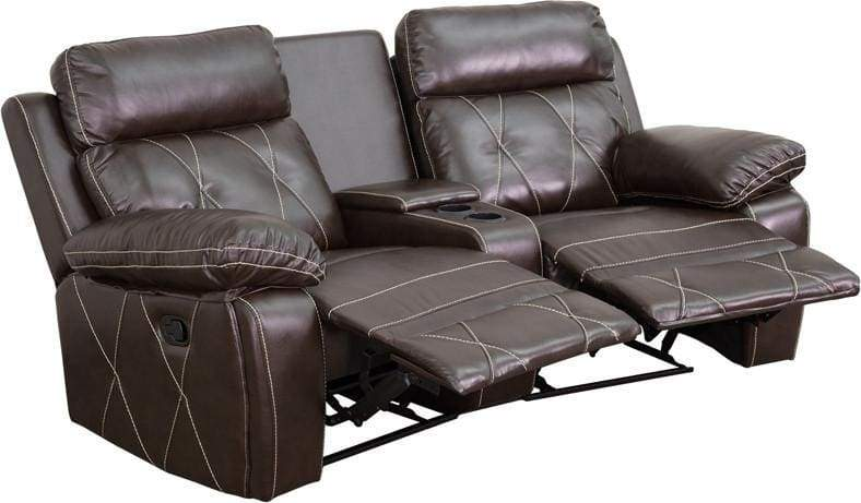 Real Comfort Series 2-Seat Reclining Brown Theater Seating Unit W/Curved Cup Holders