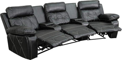 Real Comfort Series 3-Seat Reclining Black Theater Seating Unit W/Curved Cup Holder