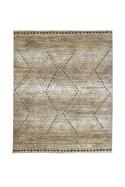 Recycled Polyester Area Rug With Geometric Pattern, Gray and Beige