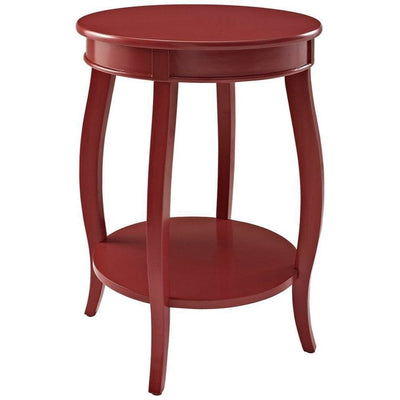 Red Round Table with Shelf