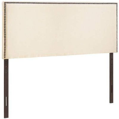 Region King Nailhead Upholstered Headboard Ivory