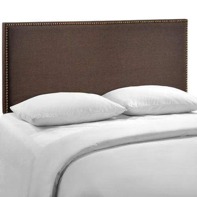 Region Queen Nailhead Upholstered Headboard Dark Brown