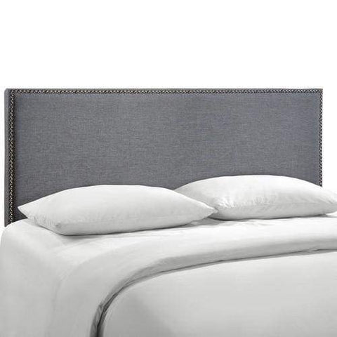 Region Queen Nailhead Upholstered Headboard Smoke