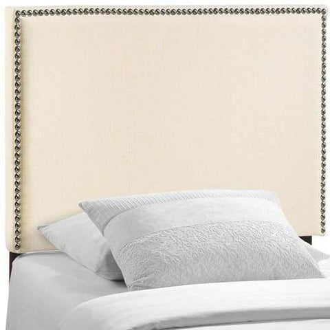 Region Twin Nailhead Upholstered Headboard Ivory