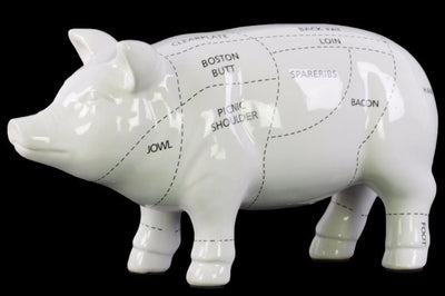 Remarkable Ceramic Pork Cut Chart Figurine-White- Benzara