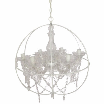 Round Cage Styled Metal Chandelier With Crystal hangings, White and Clear By Casagear Home