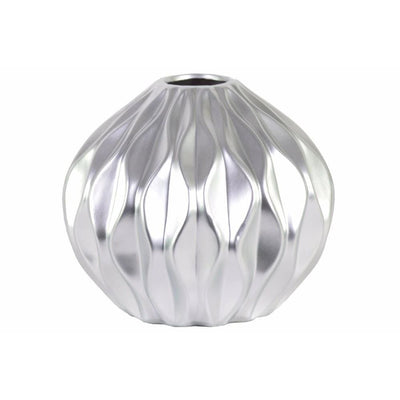 Round Low Vase with Round and Small Lip, Wave Design- Silver- Benzara