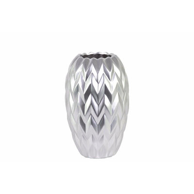 Round Vase Embossed Wave Design & Rounded Bottom-Small-Silver-Benzara