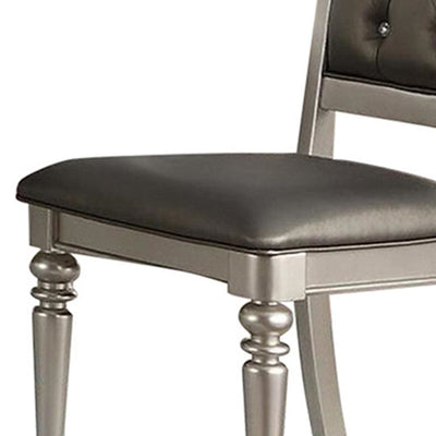 Rubber Wood Dining Chair With Diamond Tufted Back Set Of 2 Gray PDX-F1705
