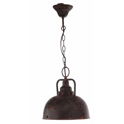 Rustically Charmed Hanging Metal Lamp, Brown By Casagear Home