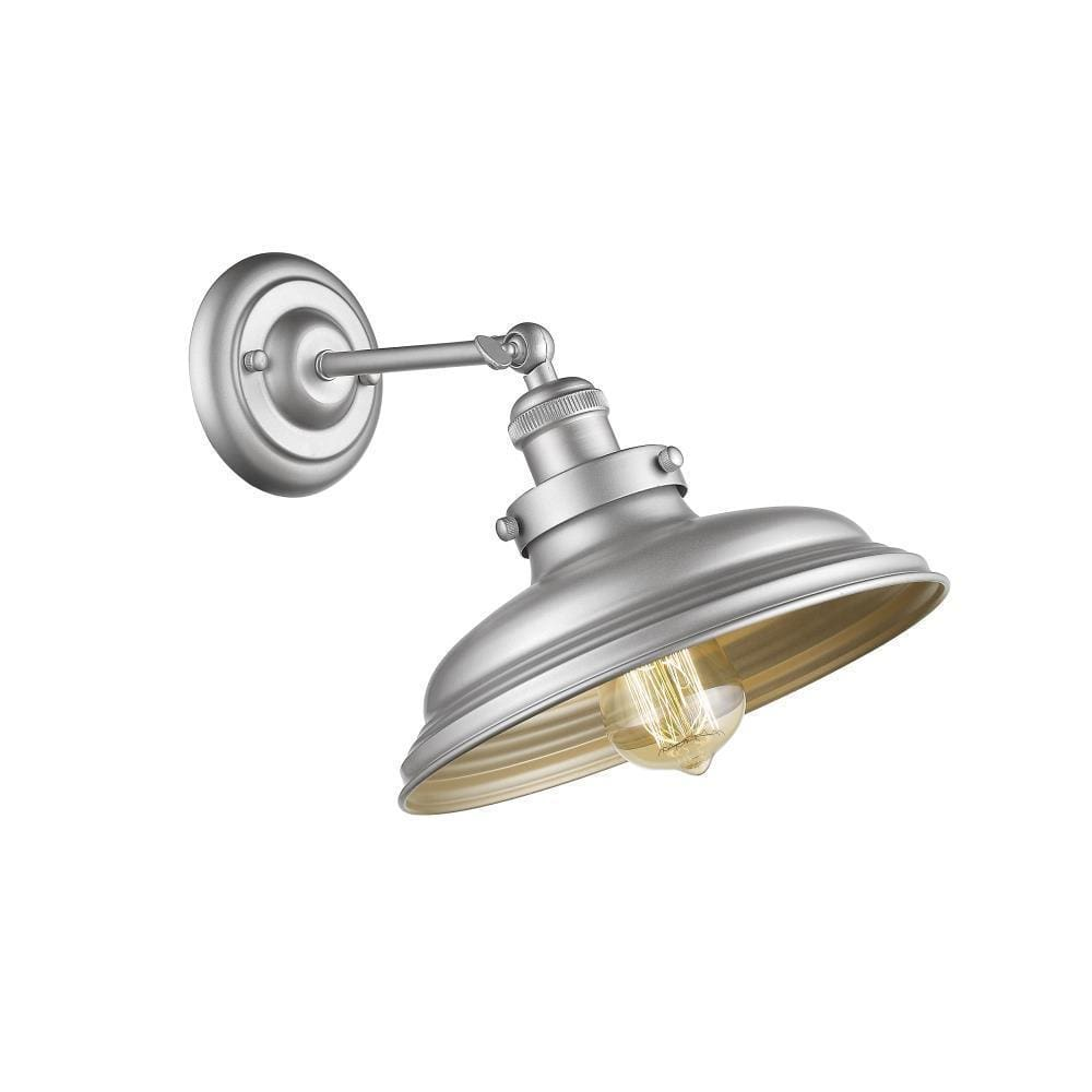 Samuel Industrial-Style 1 Light Silver Painted Indoor Wall Sconce 10