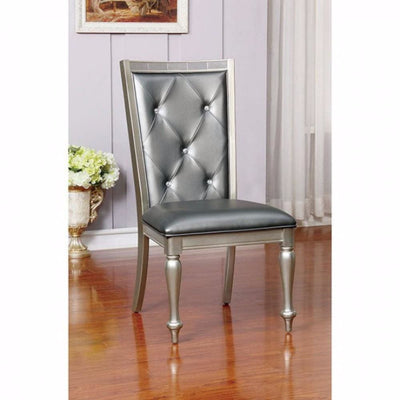 Sarina Contemporary Side Chair, Silver Gray Finish, Set of 2 By Casagear Home
