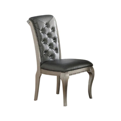 Set Of 2 Rubber Wood Dining Chair With Tufted Back Gray And Silver PDX-F1540