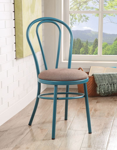 Set of Two Metal Side Chairs with Padded Seat Teal AMF-96814