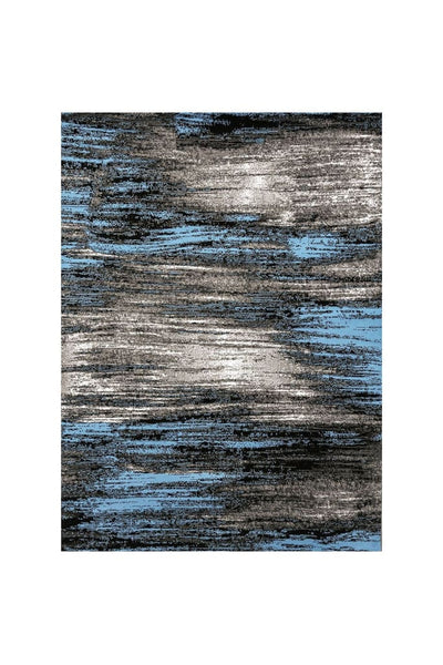 Shaded Patterned Area Rug In Polyester With Jute Mesh, Small, Blue and Gray By Casagear Home
