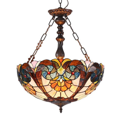 "Shea Tiffany-Style 2 Light Victorian Inverted Ceiling Pendant 18"" Shade - CH3T971AV18-UH2"