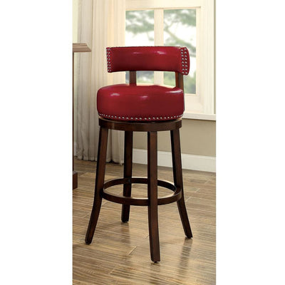 "Shirley Contemporary 24"" Barstool With pu Cushion, Red Finish, Set of 2 By Casagear Home"