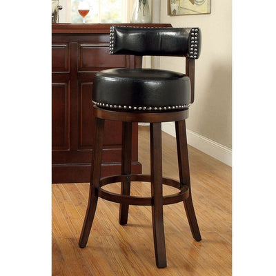 "Shirley Contemporary 29"" Barstool With pu Cushion, Black Finish, Set of 2 By Casagear Home"