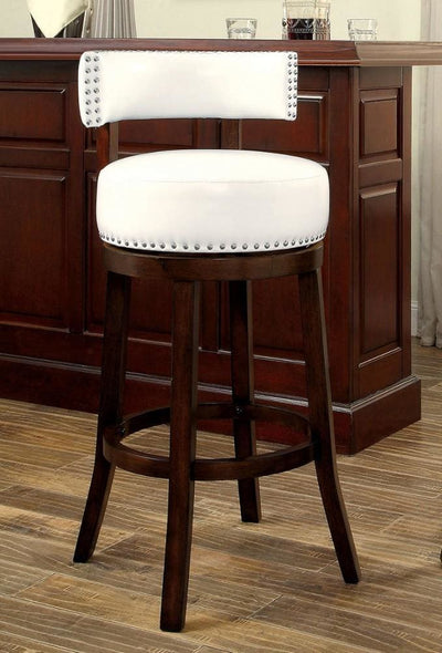 "Shirley Contemporary 29"" Barstool With pu Cushion, White Finish, Set of 2 By Casagear Home"