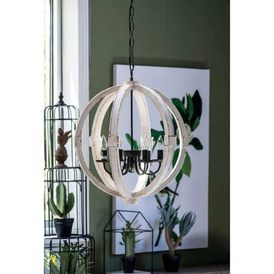 "26"" 6-Bulb Calder Orb Chandelier With Metal Chain, White By Casagear Home"