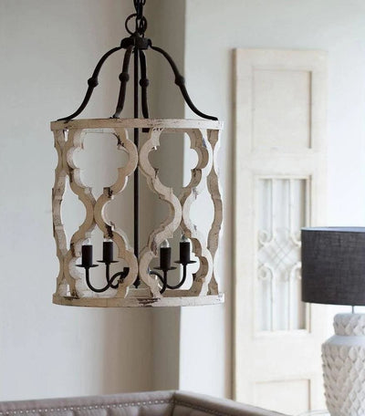 Joliette 4-Light Wood Chandelier White By Casagear Home ABH-40116