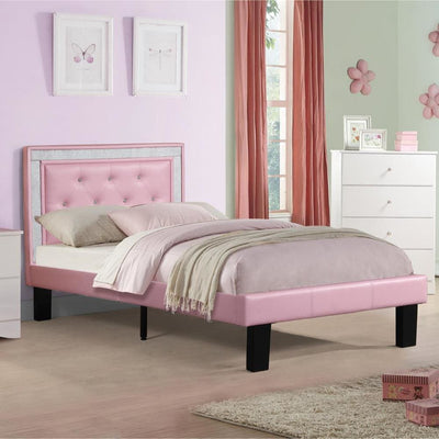 Silky And Sheeny Wooden Full Bed With Pink PU Tufted Head Board Pink Finish PDX-F9375F