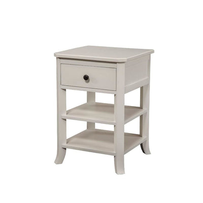 Simply Decorous  Mahogany Wood Nightstand, White