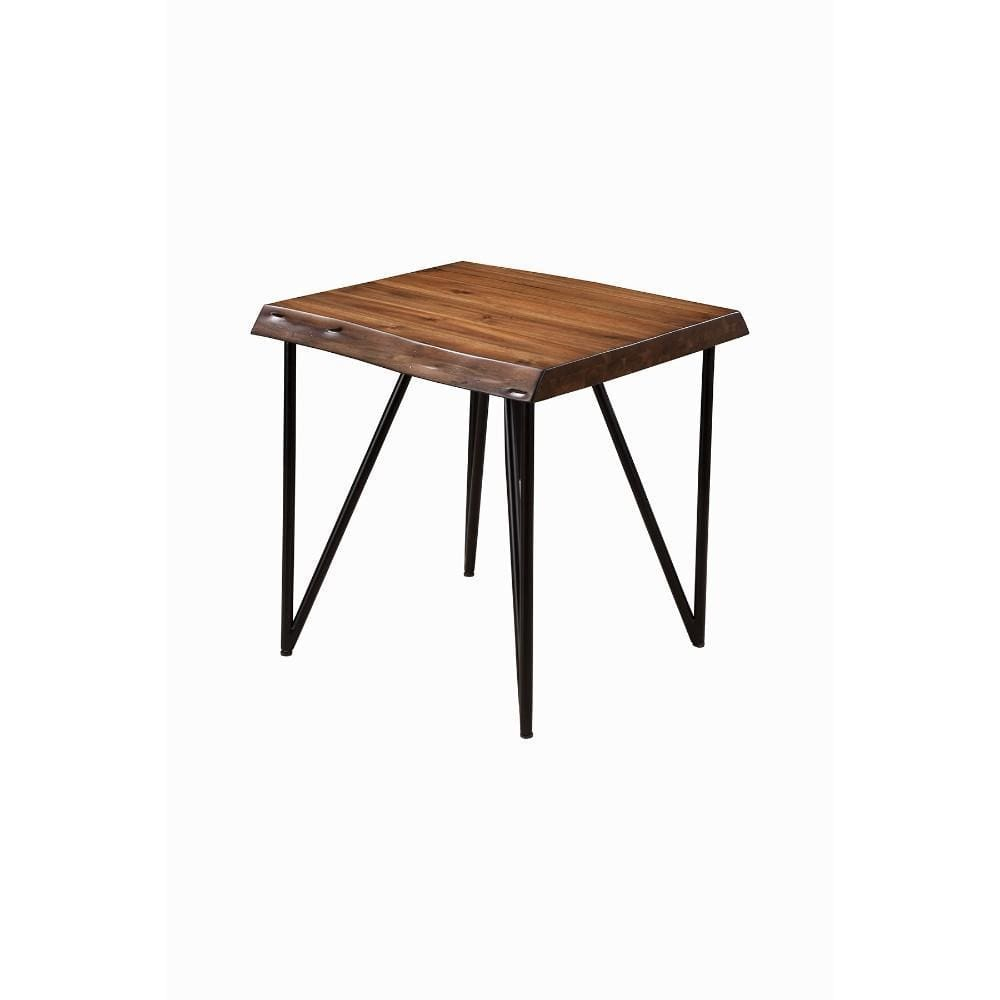 Solid Acacia Wood End/Lamp Table With Metal Legs Brown