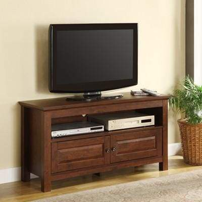 Spectacular and Compact Wood TV Console in Traditional Brown by Walker Edison