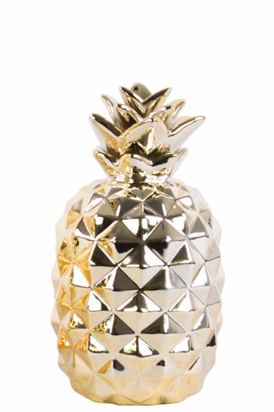Splendid Ceramic Pineapple Figurine- Small- Gold- Benzara