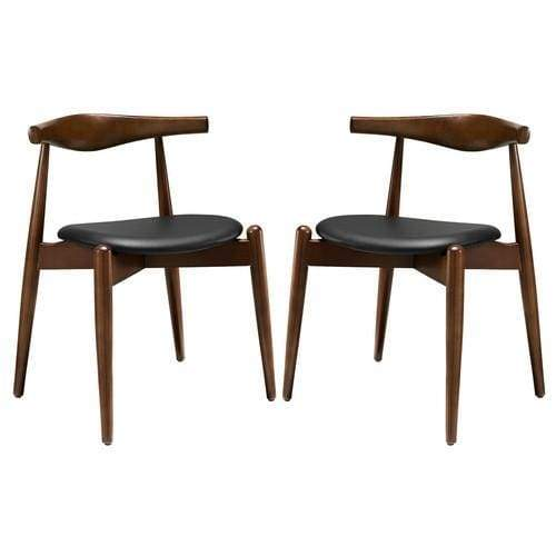 Dining Side Chairs Walnut Black