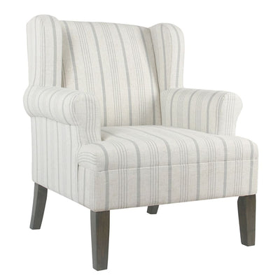 Stripped Pattern Fabric Upholstered Wooden Accent Chair with Wing Back, Multicolor - K6699-F2231 By Casagear Home