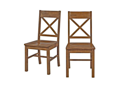 Stunning Set of 2 Antique Brown Millwright Dining Chair by Walker Edison
