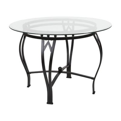 Syracuse 42 Round Glass Dining Table with Black Metal Frame