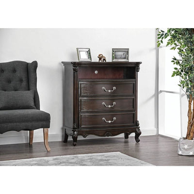 Three Drawer Solid Wood Media Chest with Open Shelf and Scrolled Legs, Brown - CM7426TV