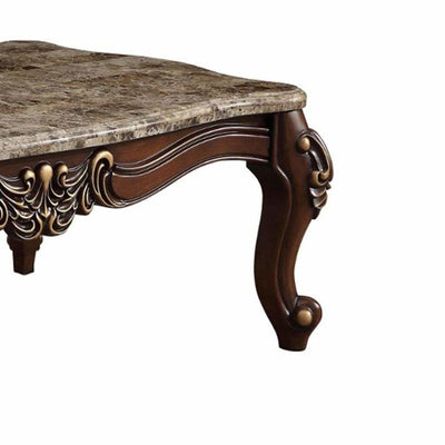 Traditional Style Rectangular Wood and Marble Coffee Table Brown - ACME AMF-81695