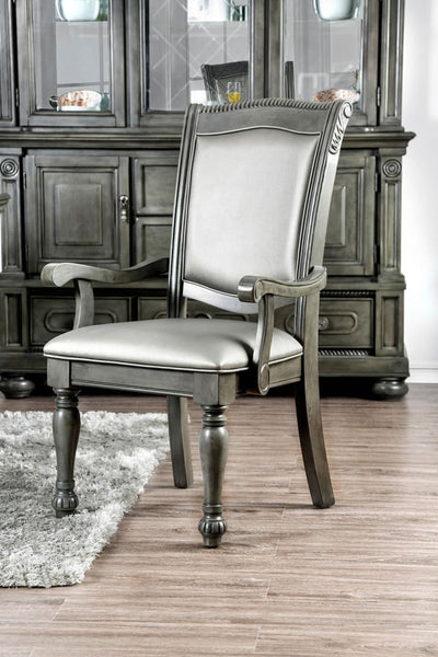 Traditional Style Wooden Arm Chair With Leatherette Cushions In Gray, Set Of 2 By Casagear Home