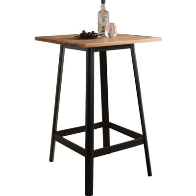 Transitional Square Shaped Wooden Bar Table With Metal Base, Black and Brown - ACME