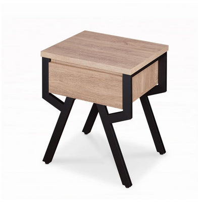 Transitional Square Wood and Metal End Table With 1 Drawer Brown and Black - ACME AMF-80587