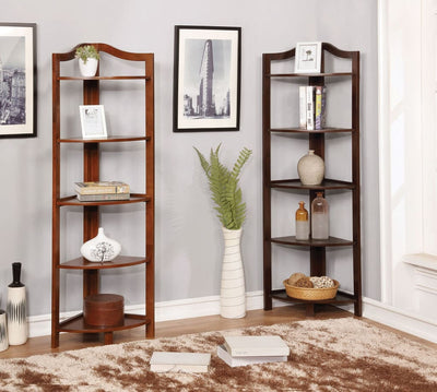 Transitional Style Wooden Open Frame Ladder Shelf with Five Shelves, Espresso Brown - CM-AC804EX