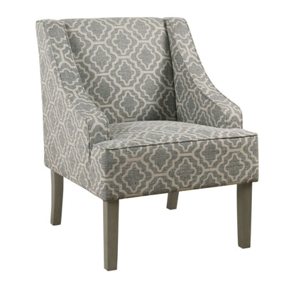 Trellis Pattern Fabric Upholstered Wooden Accent Chair with Swooping Armrests, Gray, White and Brown - K6499-F2349 By Casagear Home